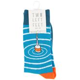 Two Left Feet Sock Co., Gone Fishing, Men's Crew Socks, Blue, 1 Pair