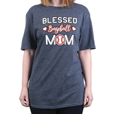Rooted Soul, Blessed Baseball Mom, Women's Short Sleeve T-Shirt, Dark Heather, Large