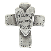 Leonard Craft Co., Always In My Heart Pocket Cross, Pewter, 1 x 1 1/4 inches