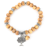 Holy Land Gifts, Tree of Life Beaded Bracelet, Olive Wood Beads, Tan