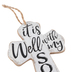 It Is Well With My Soul Wall Cross, MDF, White and Black, 5 x 3 1/2 inches