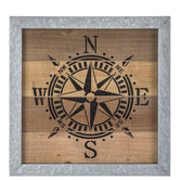Compass with Metal Frame Wall Decor, Wood and Galvanized Metal, 16 x 16 x 1 inches