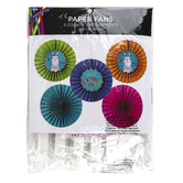 Llama Party Happy Birthday Paper Fans, Multi-Colored, 14 Inch Diameter, 5 Count