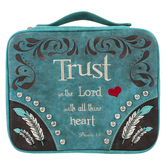 Montana West, Proverbs 3:5 Trust Bible Cover, Polyurethane Leather, Turquoise, Medium