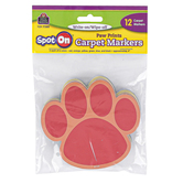 Teacher Created Resources, Spot On Carpet Markers Paw Prints, Assorted Colors, 12 Pieces, 4 Inches