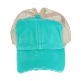 K&B Trading, Ponytail Mesh Baseball Cap, Cotton, Turquoise/Gray, One Size