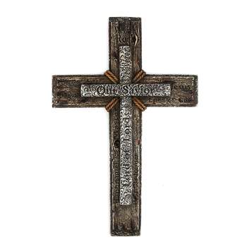 Names of Jesus Wall Cross, Resin, Rustic Wood, 12 1/2 x 19 inches