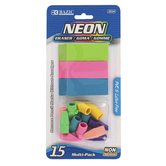 Bazic Products, Neon Eraser Set, 3 Wedge Erasers, 12 Pencil Cap Erasers