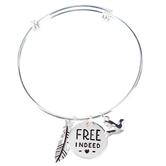 Bella Grace, Free Indeed Bangle Bracelet with Feather and Dove Charms, Zinc Alloy, Silver-tone