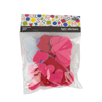 Tree House Studio, Heart Shaped Felt Stickers, 2 Inches, Assorted Sizes and Colors, 60 Count, Ages 5 and up