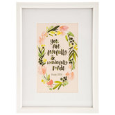 You Are Fearfully and Wonderfully Made Framed Art, White and Floral, 11 5/8 x 15 5/8 x 5/8 inch