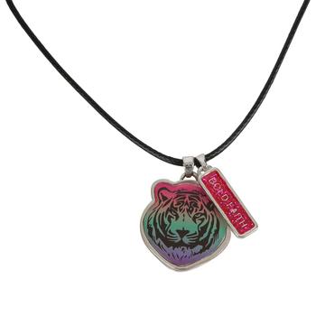 Glitter and Grace, Proverbs 28:1 Bold Faith Tiger Cord Necklace, Black/Silver, 16 inch Cord