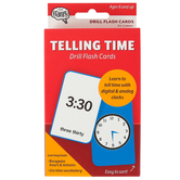 The Brainery, Telling Time Drill Flash Cards, 53 Cards, 3.25 x 5.25 Inches, Grade 1 and up