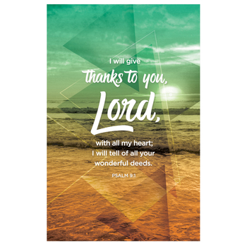 Salt & Light, Psalm 9:1 Thanks To You Lord Church Bulletins, 8 1/2 x 11 inches Flat, 100 Count