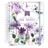 Christian Art Gifts, Live Simply 18 Month Wirebound 2021 Planner, Plastic Cover, White/Purple, 248 Pages