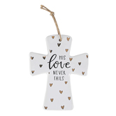 His Love Never Fails Hearts Cross, Ceramic, White and Gold Foil, 5 3/16 x 4 x 3/8 inches