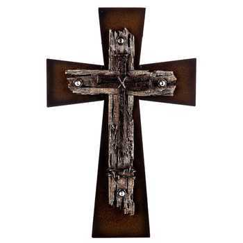 Multi-Dimensional Wall Cross, Brown Metal and Resin, 12 1/2 x 8 inches
