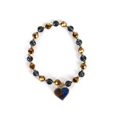 By His Grace, Beaded Stretch Bracelet with Heart Charm, Glass and Zinc Alloy, Gold