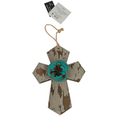 Weathered Wood Floral Wall Cross, MDF, Turquoise & Wood Grain, 6 x 4 1/2 inches