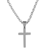 Dicksons, Matthew 19:26 With God All Things Are Possible Cross Necklace, Stainless Steel, 24 inches