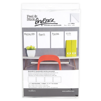 Wallies®, Peel and Stick White Dry Erase Sheets with Pen, 9 x 12 Inches, 4 Sheets