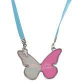 Glitter and Grace, 2 Corinthians 5:17 New Creation Butterfly and Cross Necklace, Blue/Pink/Silver, 16 inch Ribbon