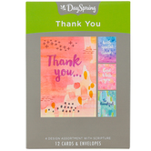 DaySpring, Thank You Watercolor Design Boxed Cards, 12 Cards with Envelopes