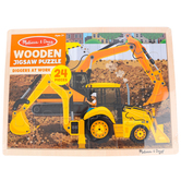 Melissa & Doug, Diggers at Work Wooden Jigsaw Puzzle, 24 Pieces, Ages 3 to 5