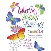 Product Concept Manufacturing, Butterflies Blossoms and Blessings Coloring Book, 24 designs
