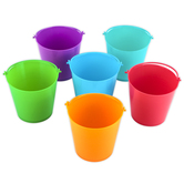 Playside Creations, Mini Buckets, Plastic, Assorted Colors, 3 x 2 Inches, 6 Count