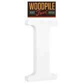 Woodpile Fun, Stand Alone Wood Letter - I, 3 inches, White