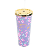 Mary Square, LLC, Happiness is Being a Grandma Floral Straw Tumbler, Acrylic, Purple, 24 Ounces