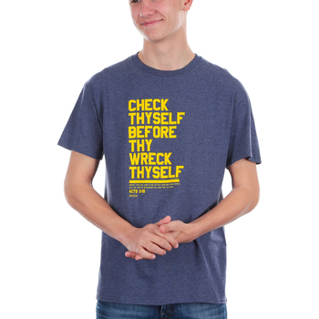 Kerusso, Acts 3:19 Check Thyself Before Thy Wreck Thyself, Men's Short Sleeve T-shirt, Denim Heather, Small