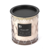 Darsee & David's, Italian Linen Diamond Patterned Jar Candle, Gray, 10 ounces