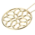 His Truly, Circle with Floral Cutout Pendant Necklace, Zinc Alloy, Gold, 32 Inch Chain