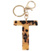 T Letter Keychain, Leopard, 2 3/4 x 2 1/4 Inches