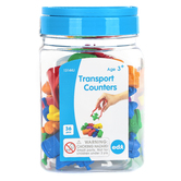Learning Advantage, Transport Counters-Mini Jar, Assorted Colors, 36 Pieces, Ages 3 Years and Older