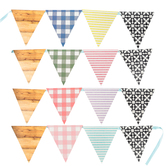 Farmhouse Lane Collection, Double-Sided Pennant Banner, 10 Designs, 16 Flags, 12 Feet