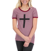 NOTW, John 3:36 Believe Cross Striped Women's High Low Fashion Top, Maroon and White, XS-2XL