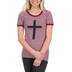 NOTW, John 3:36 Believe Cross Striped Women's High Low Fashion Top, Maroon and White, X-Small