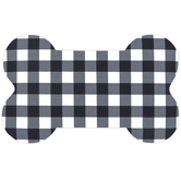 Buffalo Check Dog Bone Mat, Polyester & Rubber, Black & White, 15 1/4 x 25 inches