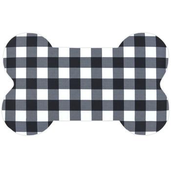 Buffalo Check Dog Bone Mat, Polyester & Rubber, Black & White, 15 1/4 x 25 inches