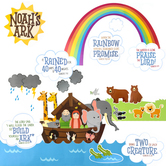 Renewing Minds, Noah's Ark Bulletin Board Set, Multi-Colored, 54 Pieces