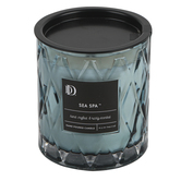 Darsee & David's, Sea Spa Diamond Patterned Jar Candle, Blue, 10 ounces