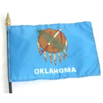 Annin Flagmakers, Oklahoma State Flag with Rod, 4 x 6 Inches, Multi-Colored, 2 Pieces