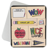Stampabilities, From the Classroom Rubber Woodblock Stamps in Tin Box, Set of 8, Grades PreK-6