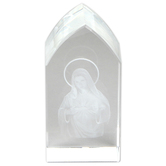 Christian Brands, Immaculate Heart Etched Glass Plaque, 1 1/2 x 3 1/4 x 1 1/8 inches