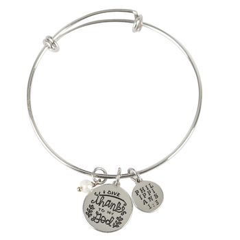 Modern Grace, Philippians 1:3 I Give Thanks Wire Wrap Charm Bracelet, Zinc Alloy & Pearl, Silver