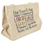 Holy Land Gifts, Names of God Tote Bag, Canvas, Cream, 16 x 12 x 6 inches