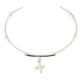 His Truly, Thin Cuff Bangle Bracelet with Cross Charm, Zinc Alloy, Silver
